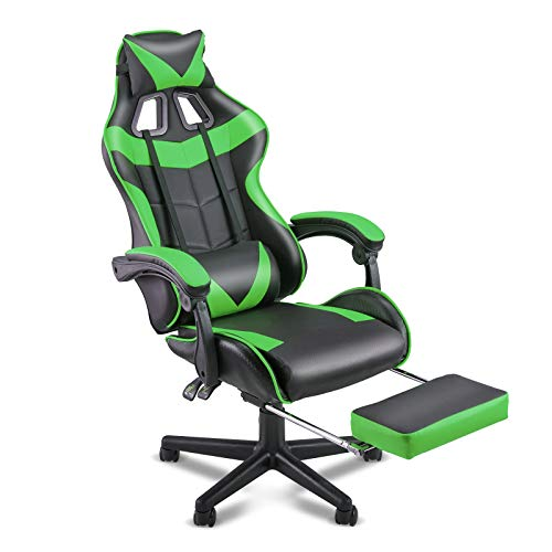 SOONTRANS PC Gaming Chair,Racing Chair for Gaming,Computer Chair,E-Sports actions Chair,Ergonomic Design of enterprise Chair with Retractable Footrest and Adjustable Headrest and Lumbar Give a enhance to(Jungle Inexperienced)