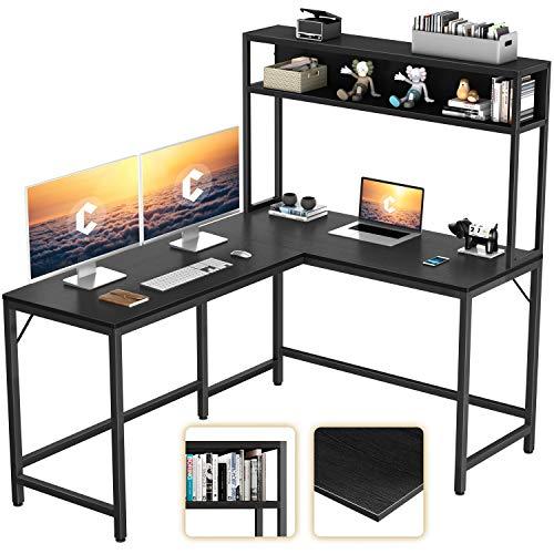 CubiCubi L-Formed Desk with Hutch,59″ Nook Laptop Desk,Dwelling Space of business Gaming Table Workstation with Storage Bookshelf,Black