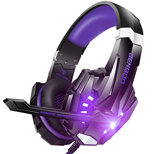 BENGOO G9000 Stereo Gaming Headset for PS4, PC, Xbox One Controller, Noise Cancelling Over Ear Headphones with Mic, LED Gentle, Bass Encompass, Delicate Memory Earmuffs (Crimson)