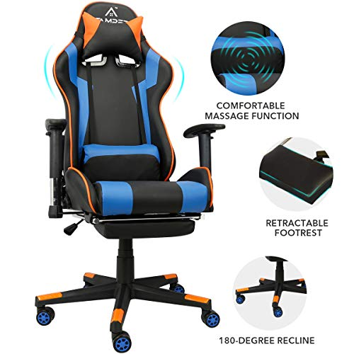 Gaming Chair Racing Fashion Workplace Computer Chair Rub down Ergonomic PU Leather PC Chair with Lumbar Pillow Headrest Armrest Footrest Adjustable Swivel High-Support (Blue)
