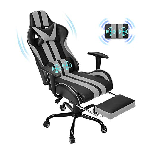 Therapeutic massage Racing Chair for Gaming,PC Gaming Chair,Video Sport Chair,Pc Chair, E-Sports actions Chair,Ergonomic Place of work Chair with Retractable Footrest and Adjustable Headrest and Lumbar Make stronger(Cool Grey)