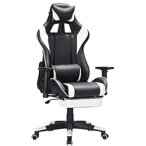 Computer Gaming Chair with Padded Footrest and Cushion,Swivel Leather Ergonomic Dwelling Enlighten of job Desk Chair Video Gaming Chair with Top Adjustable and Adjustable armrests (White)