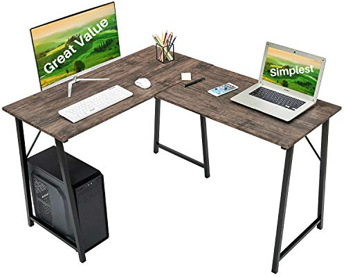 """L-Formed Laptop Desk 50.4"""" Home Office Writing Workstation Substantial Contemporary Laptop Gaming Table PC Standing Desk Residence-Saving Nook Desk for Little Residence Utility Tables, Walnut Brown"""