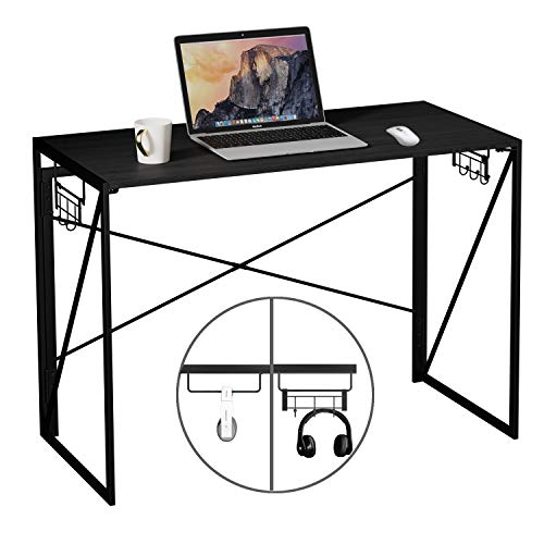 Pc Desk Up to date Straightforward Behold Desk Foldable Desk Gaming Desk with Removable Hook House Set of labor Desk 39″ Shadowy