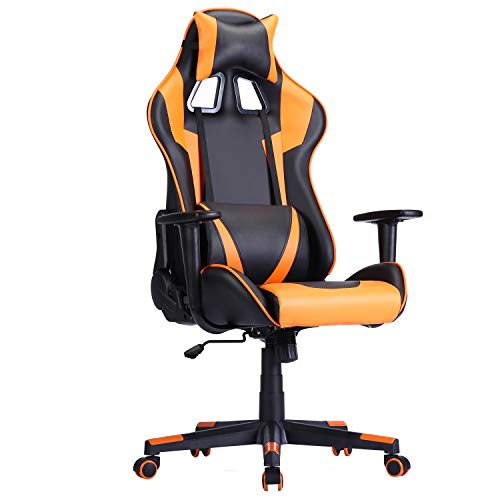 Computer Gaming Chair with Padded Footrest and Cushion,Swivel Leather Ergonomic Home Blueprint of industrial Desk Chair Video Gaming Chair with Top Adjustable and Adjustable armrests (CH66)