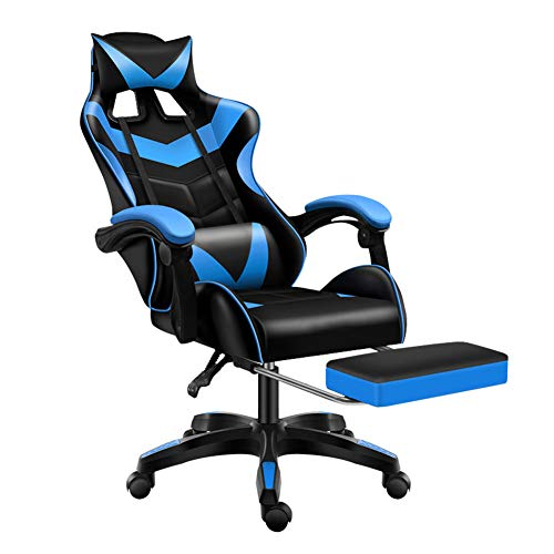 Sibosen Gaming Chair Situation of job Chair Computer Chair High Relieve PU Leather-based mostly mostly Desk Chair Ergonomic Adjustable Reclining Swivel Sport Chair with Footrest Lumbar Strengthen Headrest Armrest (Blue)