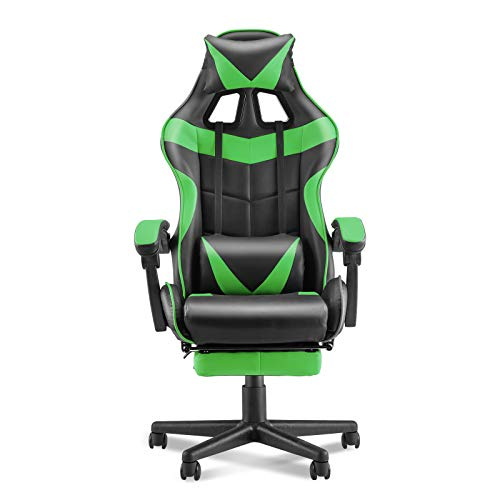 Soontrans Racing Trend PC Laptop Chair,Gaming Chair, E-Sports activities Chair,Ergonomic Space of enterprise Chair with High Adjustment,Retractable Footrest,Headrest and Lumbar Enhance(Jungle Inexperienced)