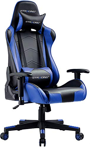 GTRACING Gaming Chair Racing Squawk of labor Computer Ergonomic Video Game Chair Backrest and Seat Prime Adjustable Swivel Recliner with Headrest and Lumbar Pillow E-Sports actions Chair Blue