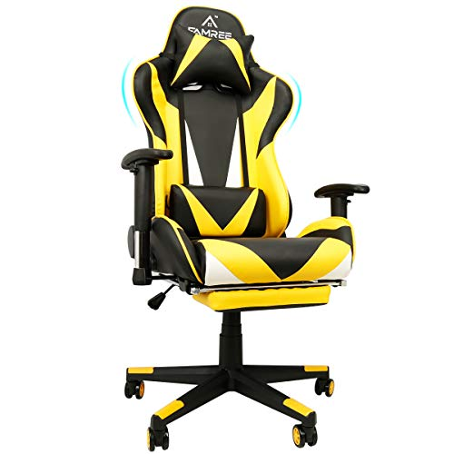 Gaming Chair Upgraded, Widened Cushion Thick PU Leather-primarily based, Racing Vogue Subject of commercial Computer Chair Massage Ergonomic PC Chair with Lumbar Pillow Headrest Armrest Footrest Adjustable Swivel High-Serve