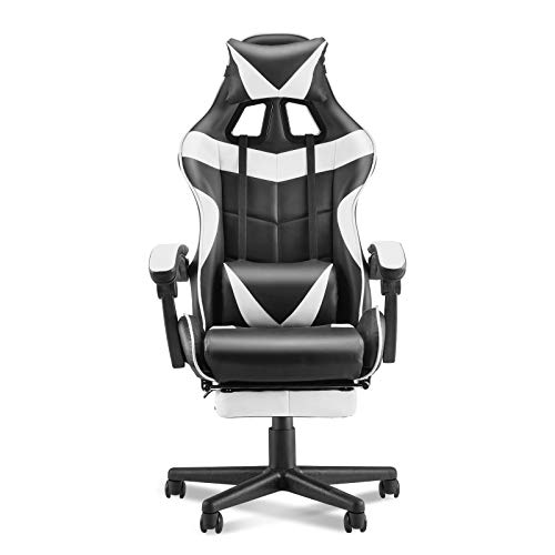 Soontrans Ergonomic Gaming Chair,Office Computer Game Chair,E-Sports activities Chair,Gaming Chair,Racing Kind with Adjustable Recliner Headrest Lumbar Pillow and Retractable Footrest(Polar White)