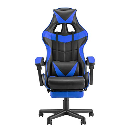 Soontrans PC Gaming Chair,Racing Chair for Gaming,Computer Chair,E-Sports actions Chair,Ergonomic Place of work Chair with Retractable Footrest and Adjustable Headrest and Lumbar Improve(Storm Blue)