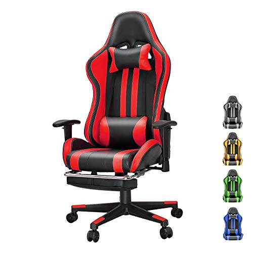Soontrans Racer Kind Computer Chair Reclining Place of job Chair Pu Leather Gaming Chair Swivel Desk Chair with Backrest and Seat Top Adjustable Swivel Rocker with Headrest and Lumbar Pillow(Gloomy/Crimson)