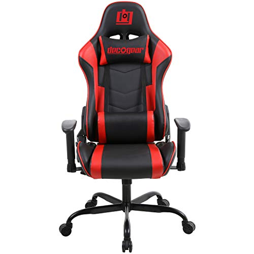 Deco Tools DGCH02 Crimson Ergonomic Foam Gaming Computer Chair with Adjustable Head and Lumbar Make stronger, Hydraulic Seat Adjustment, Adjustable Armrests, 360-Stage Tear, Rolling Caster Wheels