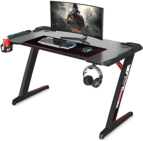 """Gaming Desk – Dripex 44.5"""" Z Formed Desk Ergonomic PC Computer Gaming Desk Gamer Table Educated Game Space with Cup Holder, Headphone Hook for E-Sport Racing Gamer Residence Situation of enterprise Present (Unlit)"""