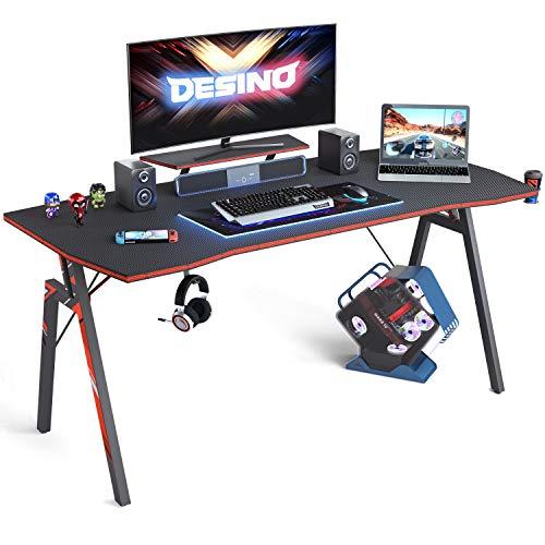 DESINO Gaming Desk 55 slide PC Computer Desk, Dwelling Place of job Desk Table Gamer Workstation with Cup Holder and Headphone Hook, Dim