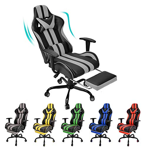 Video Gaming Chair,PC Gaming Chair,Computer Chair, E-Sports Chair,Dwelling of job Chair with Retractable Footrest and Adjustable Headrest Lumbar Red meat up(Grey)