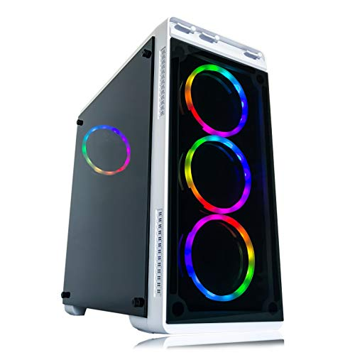 Alarco Gaming PC Desktop Computer White Intel i5 3.10GHz,8GB Ram,512GB SSD Storage,Windows 10 skilled,WiFi Ready,Video Card Nvidia GTX 650 1GB, 4 RGB Followers