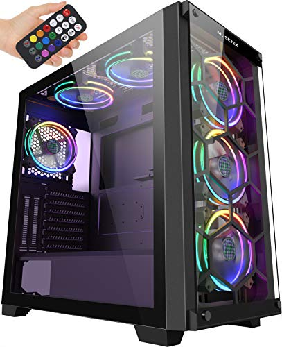 MUSETEX 6 ARGB Fans Honeycomb Airflow 2 × USB 3.0 Mid Tower Case with 2 Tempered Glass Panels Advise A long way away Control, PC Gaming Case Computer Chassis Toughen E-ATX(MU3-MS6)