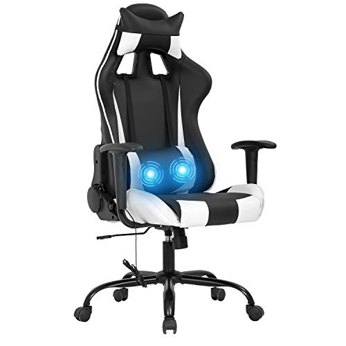 Gaming Chair Racing Office Chair Rubdown Swivel Chair High Abet PU Leather Executive Rolling Assignment Adjustable Computer Chair with Lumbar Toughen Headrest Armrest Desk Chair for Adults(White)