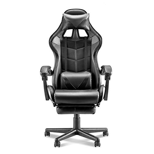 Soontrans Computer Gaming Chair Racing Stytle for Gaming PU Leather Web site of work Chair E-Sports activities Chair Ergonomic Web site of work Chair with Retractable Footrest,Height Adjustment,Lumbar Toughen (Carbon Sad)