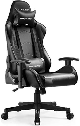 GTRACING Gaming Chair Racing Office Pc Ergonomic Video Game Chair Backrest and Seat Height Adjustable Swivel Recliner with Headrest and Lumbar Pillow E-Sports actions Chair Dark