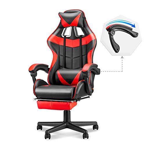 Soontrans Ergonomic Gaming Chair,High Abet Computer Gaming Chair,Video Gaming Chair with Peak and Backrest Recline Adjustable,Fats Armrest,Headrest and Lumbar Pillow Toughen (Crimson)