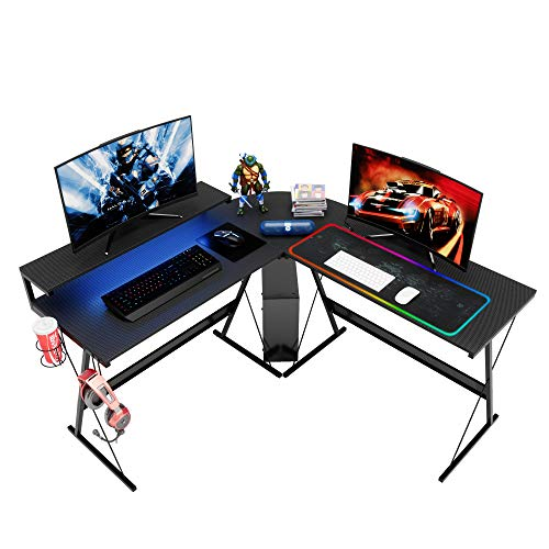 """Bestier 55.2"""" L-Fashioned Dwelling Enviornment of business Computer Desk with Huge Ergonomic Music Stand In vogue Corner PC Laptop laptop Workstation Glimpse Writing Desk Gaming Desk with LED Strip Light Headset Hook Carbon Murky"""