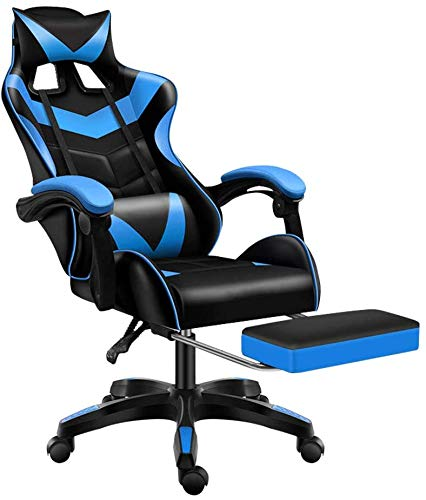 Jackgold Gaming Footrest Build of job Adjustable Swivel Leather Excessive Abet Pc Desk Chair with Headrest and Lumbar Increase, Blue-Dark