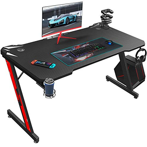 Homall Gaming Desk 44 hurry Pc Desk Gaming Table Z Fashioned PC Gaming Workstation Dwelling Situation of business Desk with Carbon Fiber Ground Cup Holder & Headphone Hook (Carbon Fiber Dim)