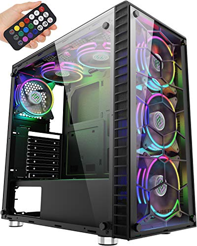 MUSETEX ATX Mid-Tower Pc Gaming Case with 6 PCS × 120mm LED ARGB Followers USB 3.0 Port Tempered Glass PC Case(G05-MS6-HB)