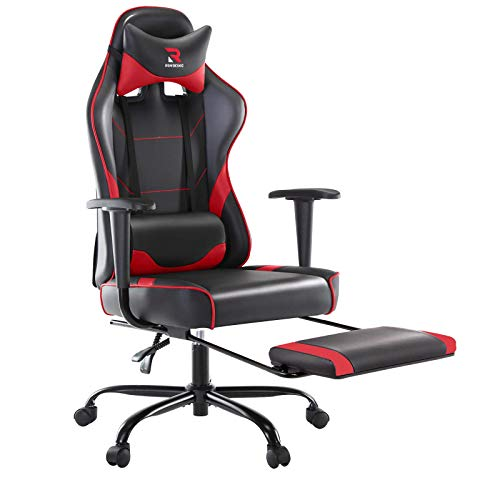 Rimiking Ergonomic Gaming Chair with Footrest – Adjustable Swivel Leather Racing Computer Desk Chair with Lumbar Toughen and Headrest for Adult and Child (Purple)