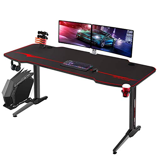 Homall Gaming Desk 55 Trail Pc Desk Racing Style Relate of work Desk Gamer Computer Workstation T Formed Sport Decide up of abode with Mouse Pad,