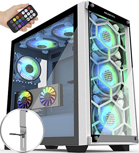 MUSETEX 5×140mm & 1×120mm ARGB Fans Reveal Faraway Utilize watch over Mid-Tower Case with 2 PCS x USB 3.0 Ports Tempered Glass Panels PC Gaming Case Pc Chassis(MU3-MN6W-14)