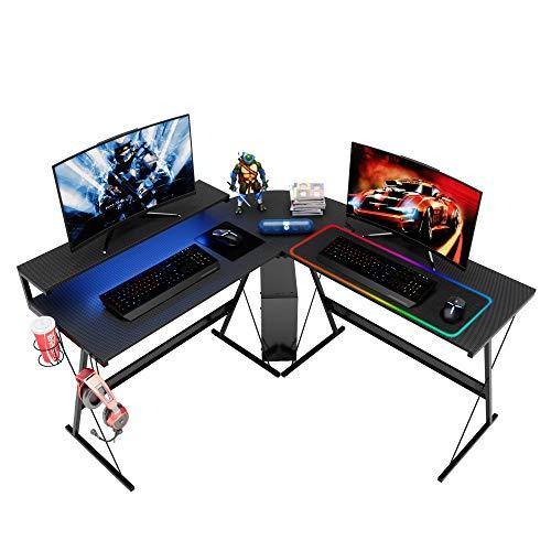Bestier L-Shaped RGB Gaming Pc Desk,Led Strip Light Storage Shelf Contemporary Nook PC Pc Desk Look Table Workstation Home Put of job Desk with Dapper Elevated Ergonomic Video display Shelf Carbon