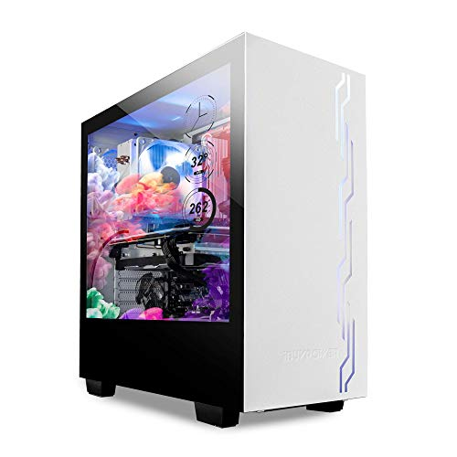 iBUYPOWER Snowblind S 19″ Translucent Customizable Aspect-Panel LCD Camouflage 1280 x 1024 Resolution Mid-Tower Desktop Computer Gaming Case 3 x 120 millimeter Followers SECC Metal, White