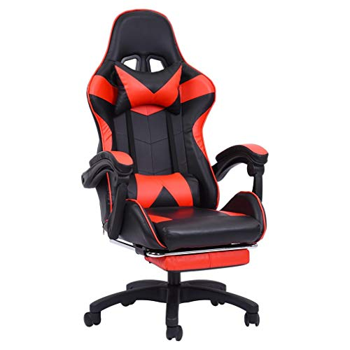 【Ship from US】 Gaming Chair Place of job Chair Computer Ergonomic Heavy Accountability Video Sport Chair Backrest and Seat Peak Adjustable Swivel Recliner with Headrest and Footrest for Adults Kids (Crimson)