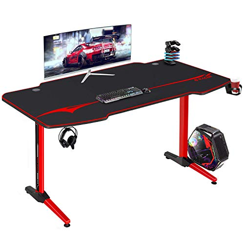 Furniwell 55 Stagger Gaming Desk Racing Pc Desk Sport Desk Gamer Workstation Residence Plot of labor Desk T-Fashioned with Free Mouse Pad,Gaming Tackle Rack, Cup Holder and Headphone Hook (55 Stagger)