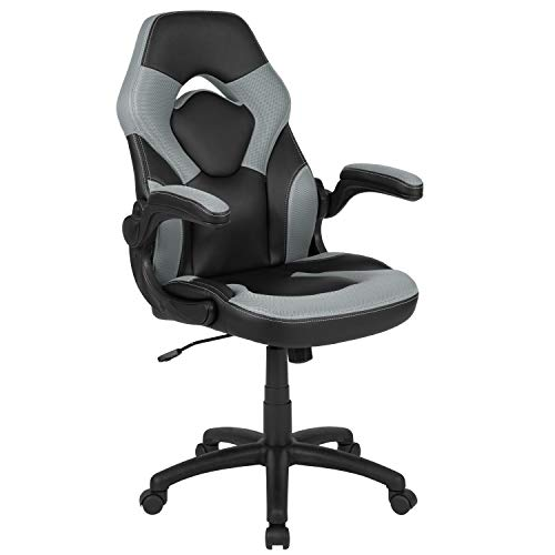 Flash Furnishings X10 Gaming Chair Racing Announce of job Ergonomic Computer PC Adjustable Swivel Chair with Flip-up Palms, Grey/Dim LeatherSoft