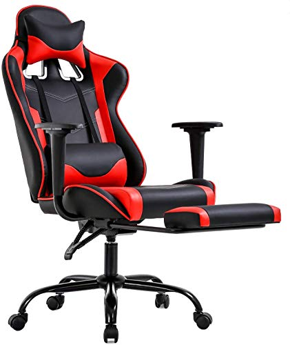 Gaming Chair Station of job Chair High Relieve Pc Chair Leather-primarily primarily based Desk Chair Lumbar Give a improve to with Footrest Standard Assignment Rolling Swivel Racing Chair,