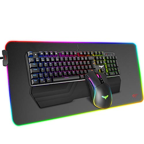 Havit Mechanical Keyboard and Mouse Combo RGB Gaming 104 Keys Blue Switches Wired USB Keyboards with Detachable Wrist Leisure, Programmable Mouse, RGB Colossal Gaming Mouse Pad for PC Gamer Computer Desktop
