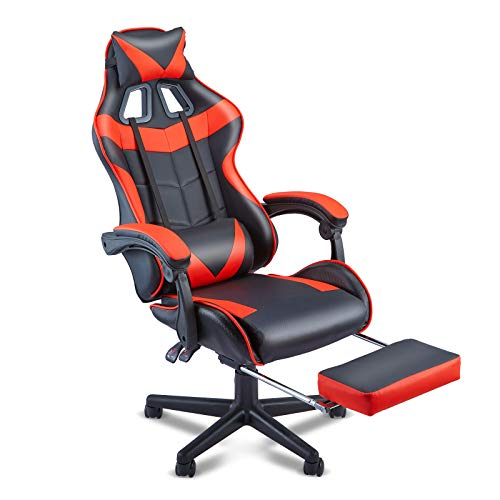 SOONTRANS Dwelling of job Chair,Gaming Chair,E-Sports activities Chair,PC Pc Chair,Racing Fashion Racing Chair with Hight Adjustment,Lumbar Toughen,Headrest,Footrest-Magma Crimson