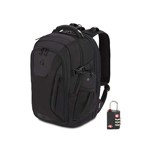 SWISSGEAR 5358 Final Protection USB TSA Kindly ScanSmart Laptop pc Backpack and Cable Lock Bundle – Black Stealth