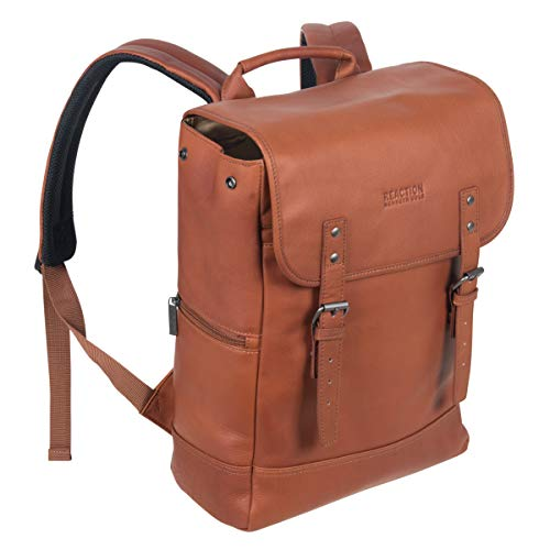 "Kenneth Cole Reaction Colombian Leather-primarily based Single Compartment Flapover 14.1"" Computer computer Backpack (RFID), Cognac"