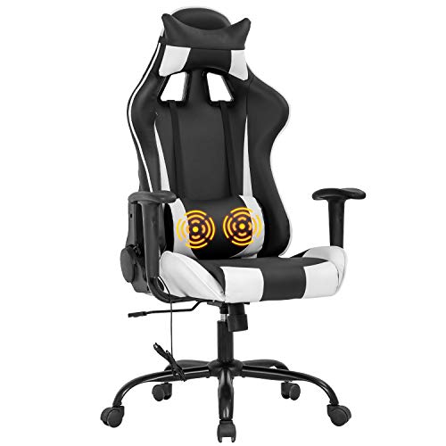 Vnewone Computer Gaming Chair PC Ergonomic Executive Desk with Adjustable Excessive-Aid PU Leather Racing Rolling Swivel Task Lumbar Enhance Headrest Armrest Massager for Repute of enterprise Home,
