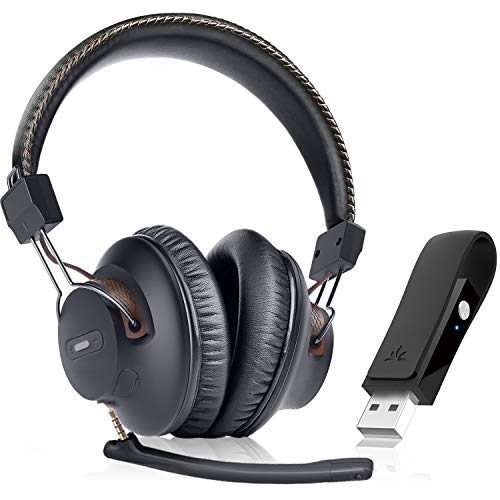 Avantree DG59(M) Wireless Gaming Headphones Place w/Detachable Lisp Mic and Bluetooth USB Audio Dongle Wisely matched with PS4, PC, Notebook computer, Computer, Chat & Song, Uncomplicated Quiet,