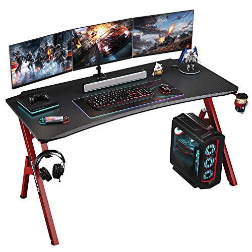 Foxemart 47 scoot Gaming Desk, PC Sport Computer Desk Workstation, Expert Gaming Desk, Assign of enterprise Gamer Desk with Cup Holder & Headphone Hook