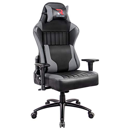 RIMIKING Sizable&Astronomical Gaming Chair- Therapeutic massage High Assist Racing Executive Computer Desk Place of work Chair Adjustable Tilt Attitude, Steel Snide Broad Backrest (Gray)