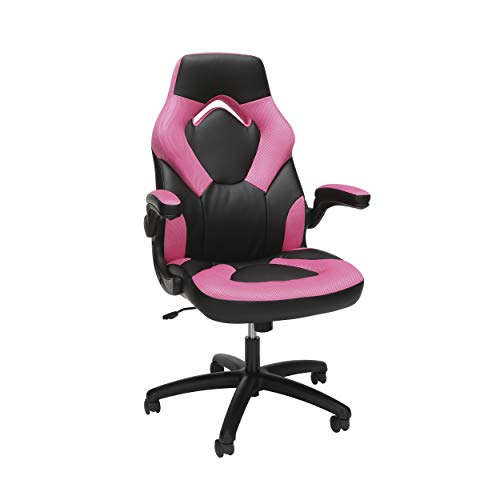 OFM ESS Collection Racing Sort Bonded Leather Gaming Chair, in Red (ESS-3085-PINK)