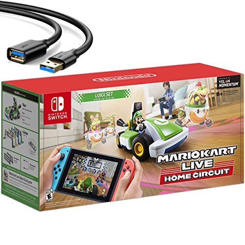 Nintendo 2020 Newest – Mario Kart Reside: House Circuit – Luigi Living Edition – Holiday Family Gaming Bundle for Nintendo Switch, Nintendo Switch Lite – Green – iPuzzle USB Extension Cable
