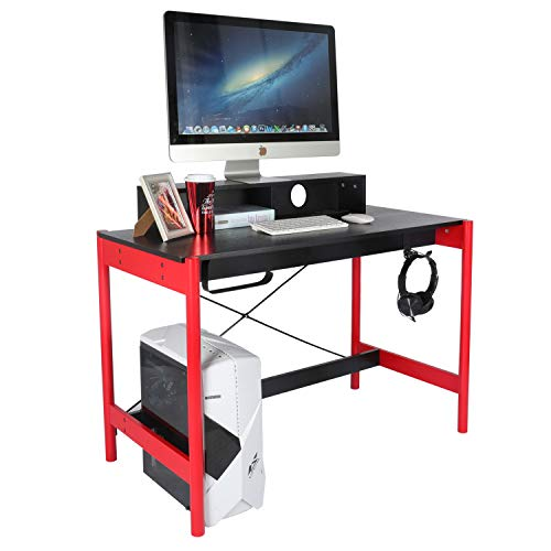 YILI Teenagers Gaming Laptop Desk, 42″ Home Save of abode of business Desk, Gamer Workstation Desk with 3 Outlet & 2 USB Ports, Look Writing Table with Storage Hutch/PC Stand,